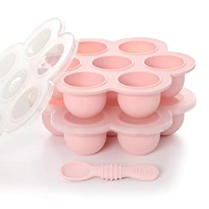 PrimaStella Silicone Baby Food and Snack Storage 2 Pack | Safety Tested | BPA Free | Microwave, Oven, Freezer and Dishwasher Safe | Spoon Included (Soft Pink)