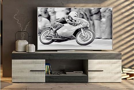LIQUIDATODO ® - Mueble de tv moderno y barato 2 puertas y 1 hueco color coral y ebony