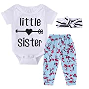 0-18M Infant Newborn Baby Girl Arrow Romper + Long Pants + Headband Layette Set (0-3M, Arrow+Floral)
