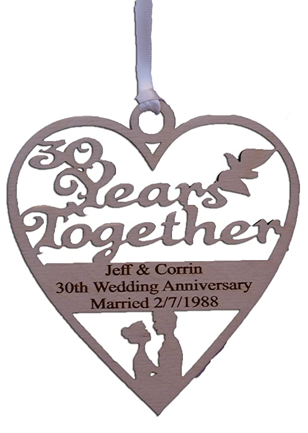 Personalised Wood Engraved 30 Years Pearl Wedding Anniversary