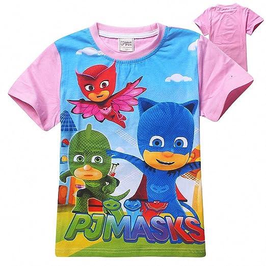 Owone Box Baby Kids PJ Masks Cotton Short Sleeve T-shirt Pink 2,4