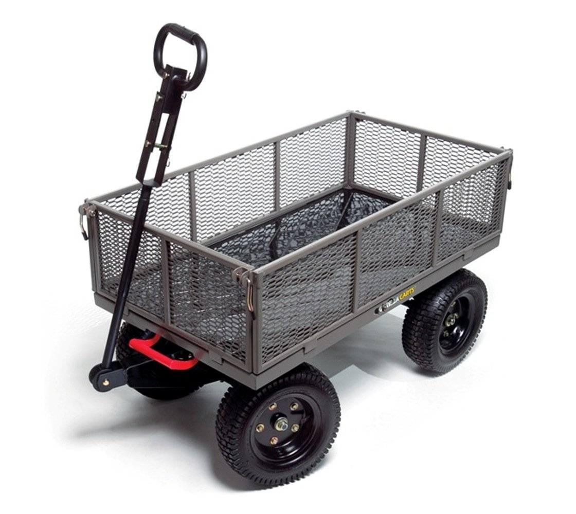 Gorilla Carts GORMP-12 Steel Dump Cart with Removable Sides and 2-In-1 Convertible Handle, 1,200-Pound Capacity, 39.5-Inch by 22-Inch Bed, Grey Finish