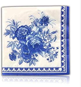 Blue Floral Decorative Paper Napkins, 2-Ply Cocktail Beverage Napkins For Wedding Birthday Dinner Lunch, 20 Count