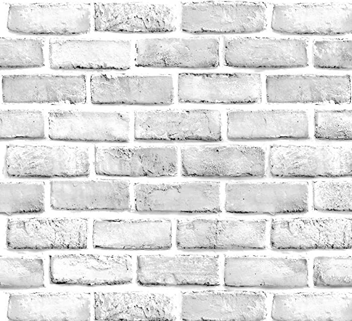 "Yancorp White Gray Brick Wallpaper Grey Self-Adhesive Contact Paper Home Decoration Peel and Stick Backsplash Wall Panel Door Stickers Christmas Decor (18""x394"")"