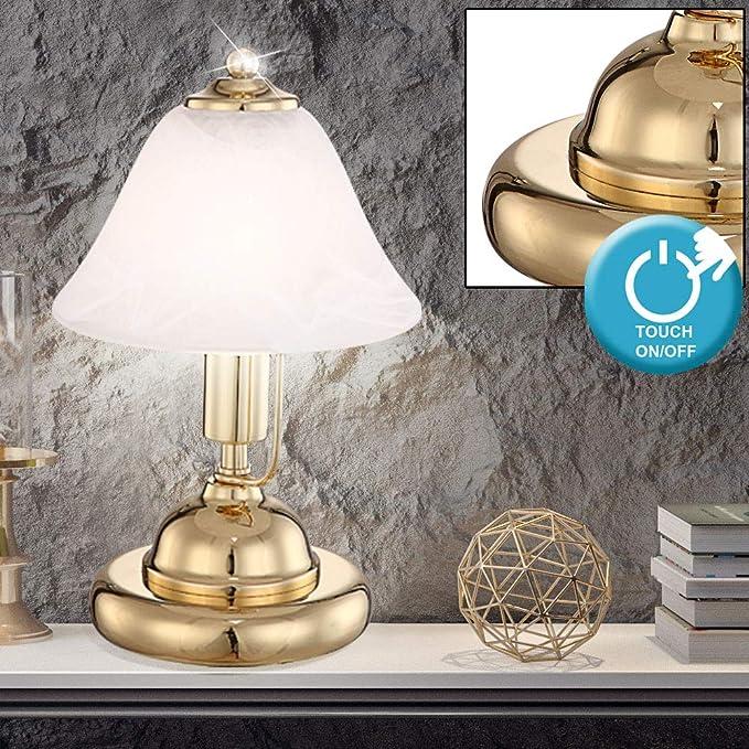 Touchfunktion Tischleuchte Nachttisch Globo Tischlampe Messing Glasschirm antik