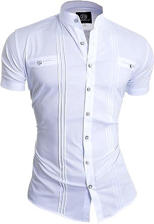 D&R Fashion Camisa de los Hombres de Moda de Manga Corta con el Abuelo y el Collar Decorativos de Las líneas Verticales: Amazon.es: Ropa y accesorios