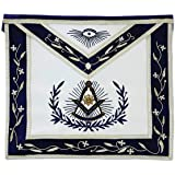 Past Master with Embroidered Border Masonic Apron - [Blue & White]