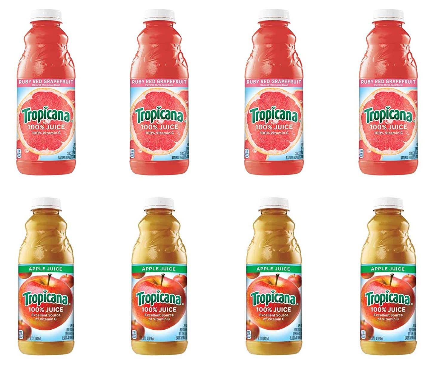 LUV BOX-Variety Tropicana Pack ,Pack of 8 , 32 oz , Ruby Red Grapefruit , Apple Juice