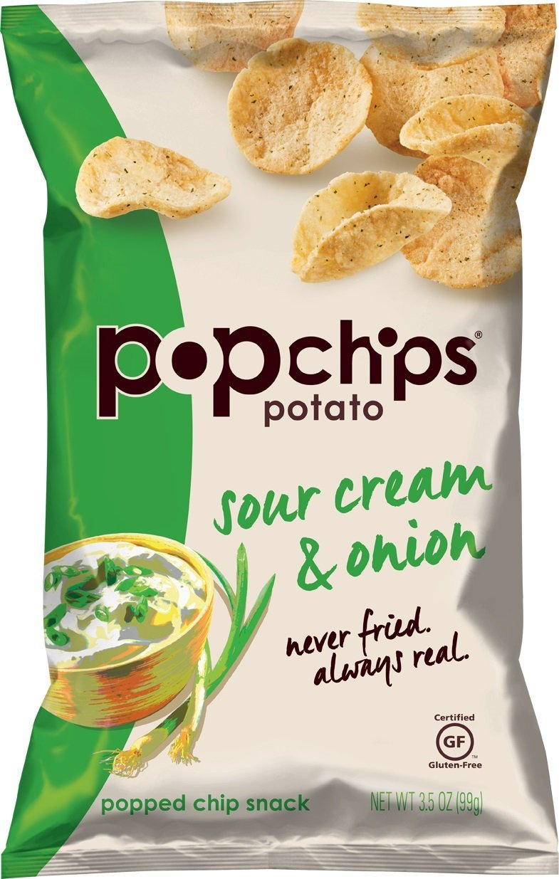 Popchips Potato Chips, Sour Cream & Onion Potato Chips, (3.5 oz Bags), Gluten Free Potato Chips, Low Fat, Kosher (Pack of 12)