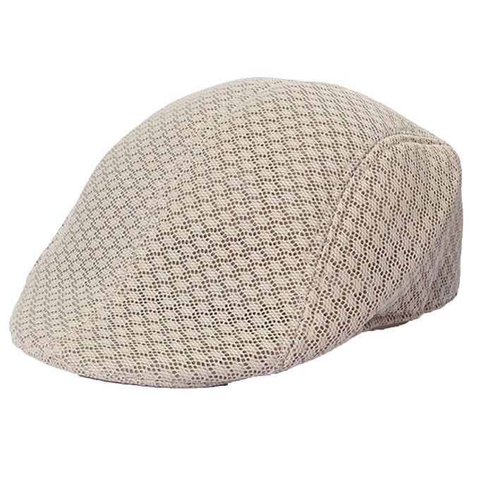 6cd6552ab62 Summer Unisex Men Women Sun Mesh Beret Cap Newsboy Golf Cabbie Flat Peaked Hat  Breathable Berets