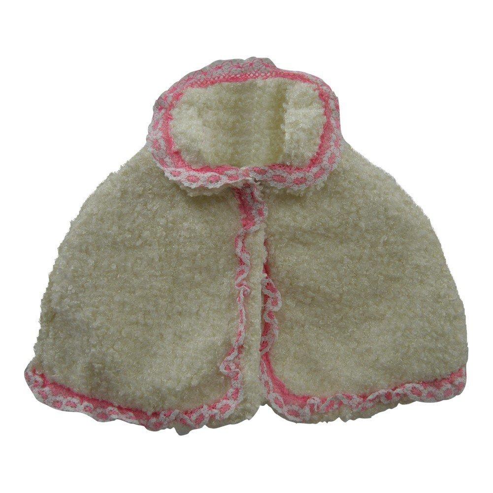 Little Girls Off-White Trim Detail Soft Beautiful Design Faux Fur Cape 2-5