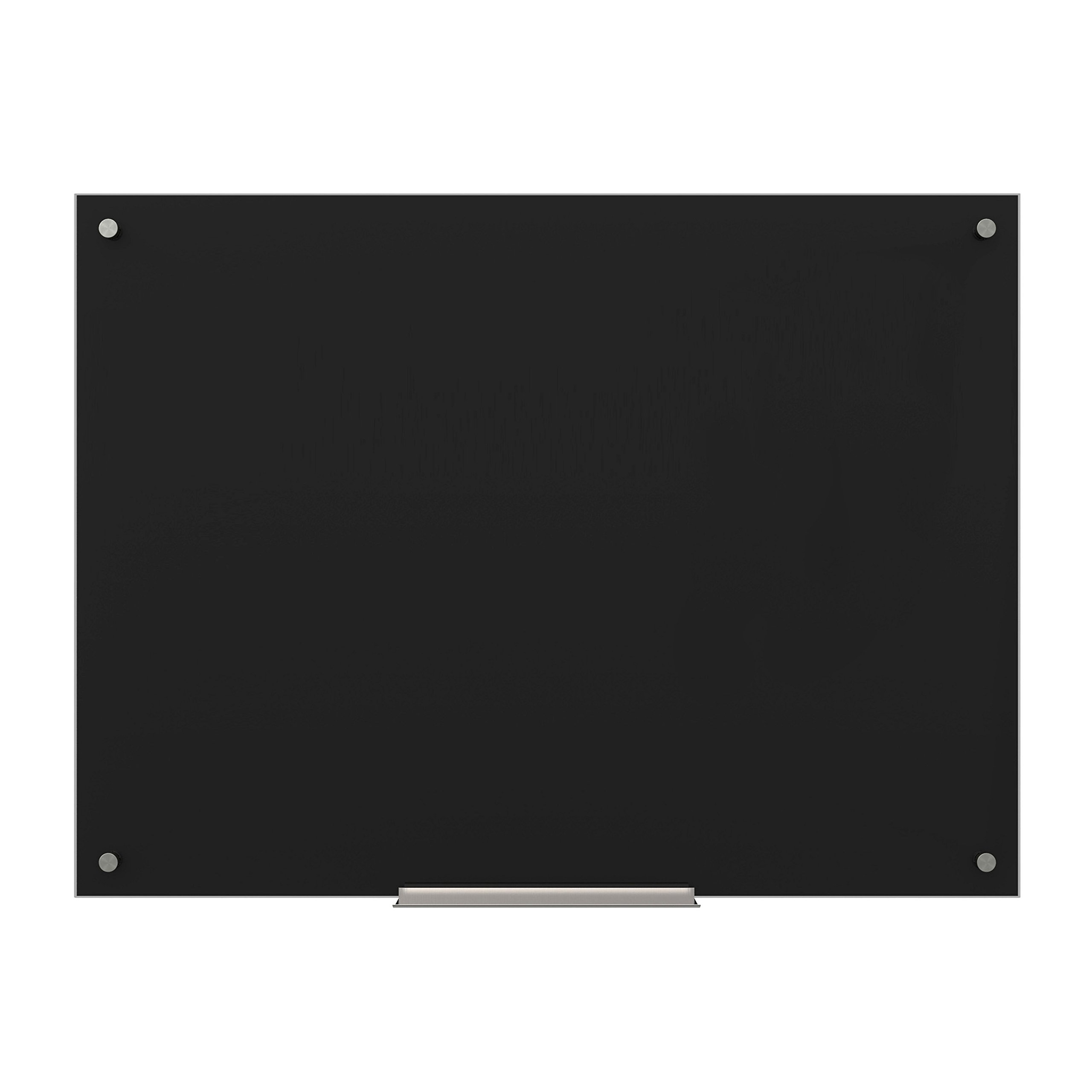 U Brands Glass Dry Erase Board, 47 x 35 Inches, Black Surface, Frameless