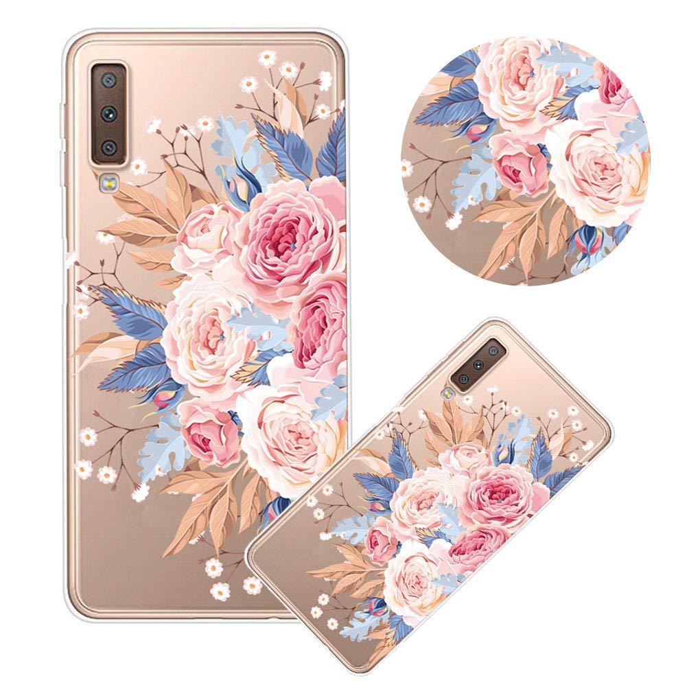Moiky Clear TPU Coque pour Galaxy A7 2018,Silicone Coque pour Galaxy A7 2018, Élégant Créativité Fleur Rouge Imprimé Ultra-Mince Antichoc Doux Gel Étui Housse Coque