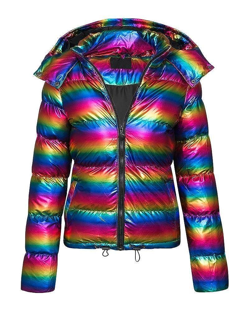 90b41bb24 SheLikes Kids Girls Padded Hooded Quilted Zipped Metallic Shiny ...