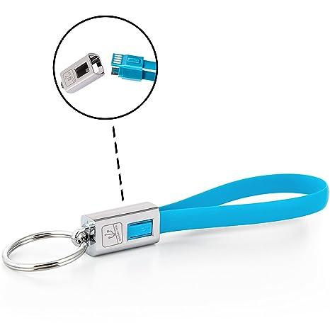 Llavero cargador USB metal (Micro-USB, Blue)