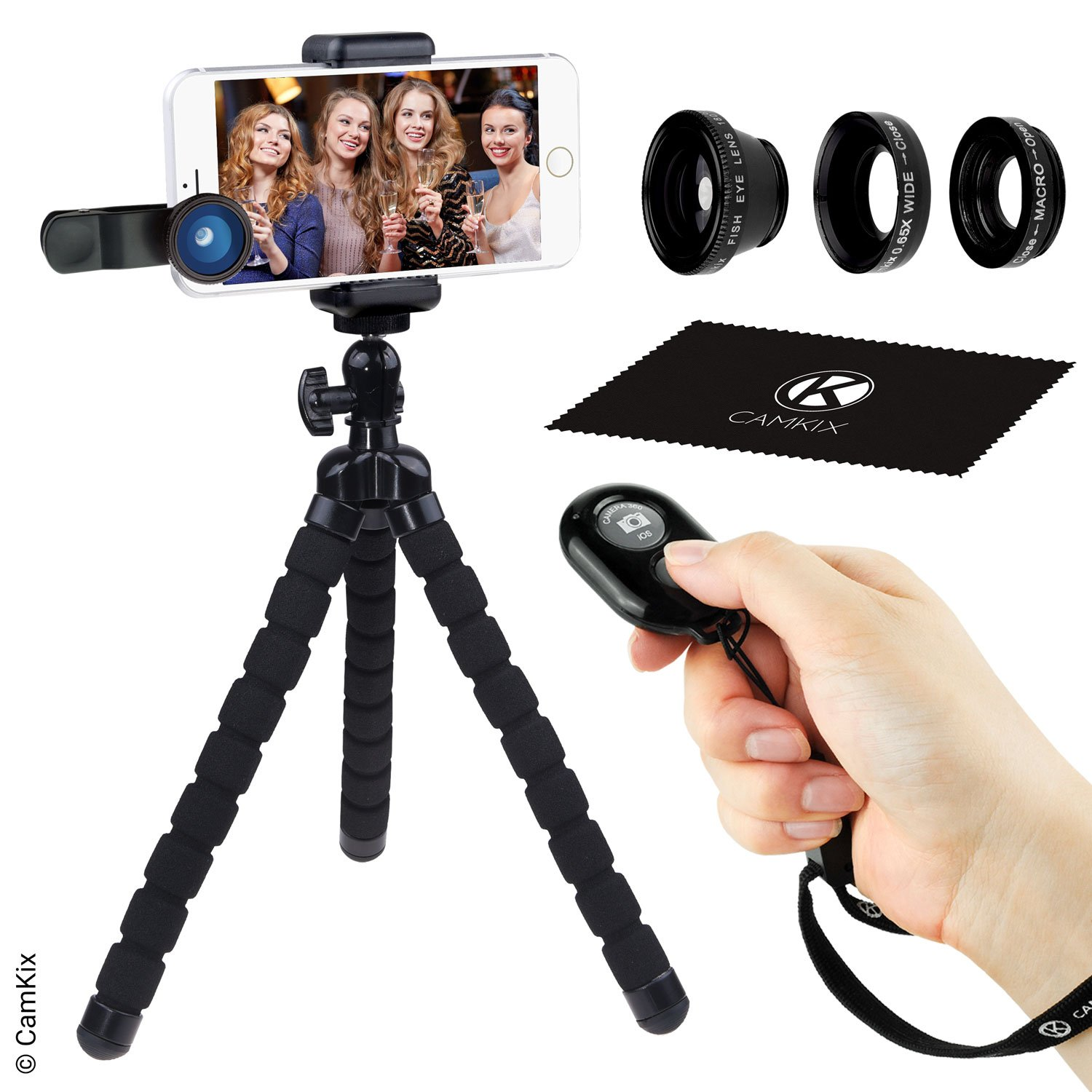 Smartphone Photography Kit - Flexible Cell Phone Tripod, Bluetooth Remote Control Camera Shutter and 3in1 Lens Kit - Universal Octopus pod - Fish Eye, Macro and Wide Angle Lens - for iPhone and more CamKix D0268-UTL-BLA