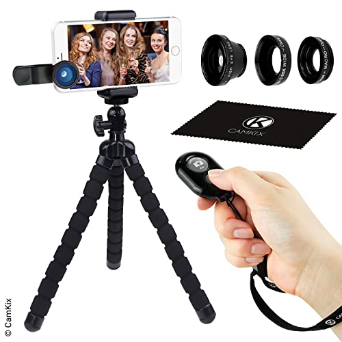 Smartphone Photography Kit - Flexible Cell Phone Tripod, Bluetooth Remote Control Camera Shutter and 3in1 Lens Kit - Universal Octopus pod - Fish Eye, Macro and Wide Angle Lens - for iPhone and more