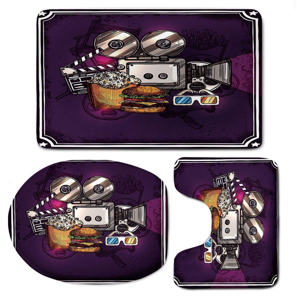 3 Piece Bath Mat Rug Set,Modern-Decor,Bathroom Non-Slip Floor Mat,Cartoon-like-Cinema-Movie-Image-Burgers-Popcorns-Glasses-Art-Print,Pedestal Rug + Lid Toilet Cover + Bath Mat,Plum