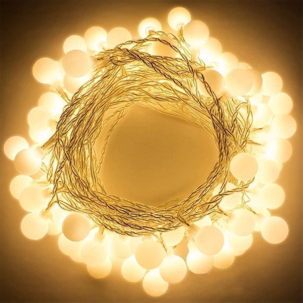 Qedertek LED Lichterkette Strombetrieben,10M 100 LED Kugeln Lichterketten Warmweiß 8 Modi Weihnachtsbeleuchtung Innen mit Timer und Speicherfunktion für Weihnachten, Party, Hochzeit Deko