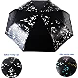 Walker Raindrops Color Changing Auto Folding Umbrella with Black Rubber for Cooling and UV Protection(pink+green)
