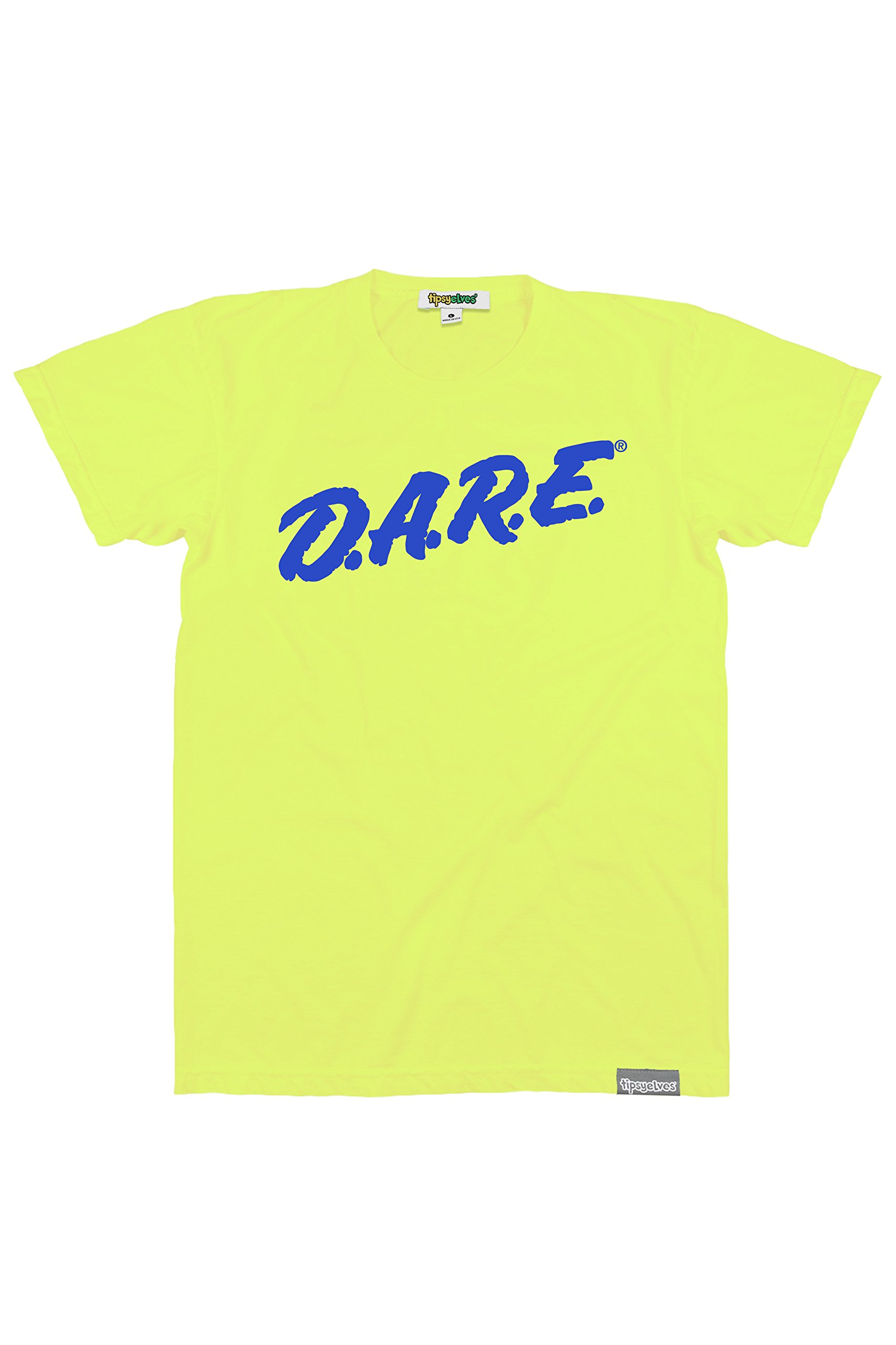 Tipsy Elves Men's Neon Yellow Dare Shirt - Retro Neon 80's Clothing Tee (Large)