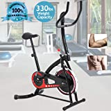 Exercise Bike Spin Bike Stationary Cycle Bike with LCD Display & Non-Slip Foot Pedals Indoor Cycling Bike Static Machine Exercise & Fitness Equipment for Home Gym Cardio Workout for 5ft-6.5ft Adults