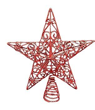 4afe6e05f234 UK-Gardens Christmas Decorations 30cm Large Red Glitter Star Swirls  Christmas Tree Topper
