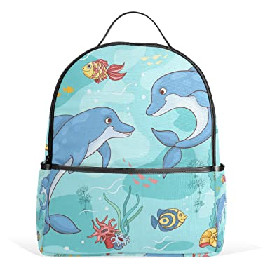 Amazon Com Lorvies Two Dolphins The Sea School Backpack