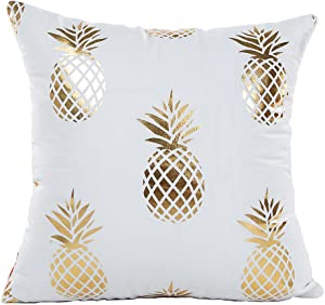 "4TH Emotion Gold Pineapple Throw Pillow Case Cushion Cover 18"" x 18"" Inch Cotton Polyester"