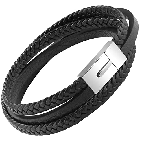 e0b59ab0e OSTAN Mens Genuine Leather Bracelet Stainless Steel Mens Bracelet Braided  Wristband - (7.87)