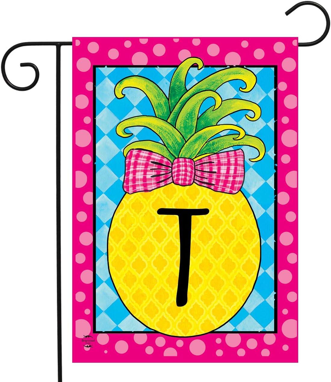 """Briarwood Lane Pineapple Monogram Letter T Garden Flag Everyday 12.5"""" x 18"""""""