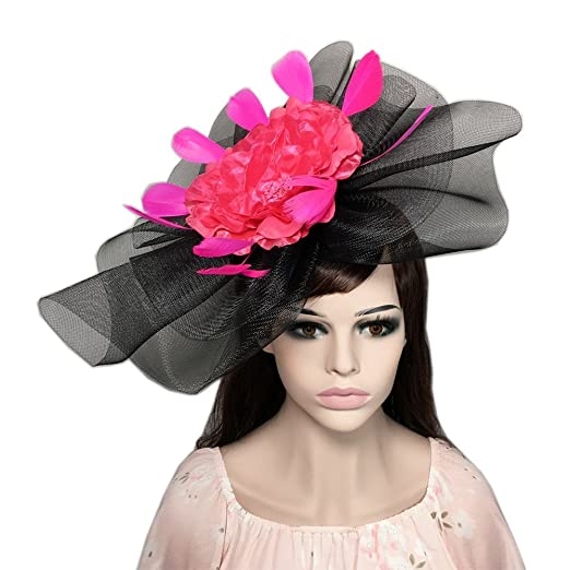 YSJOY Vintage Veil Mesh Feather Big Curl up Kentucky Hat Simulation Flower  Bridal Shower Hat Wedding 56d8b751ddb
