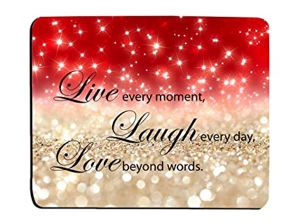 Glitter Mouse Pad Red Sparkle Quote Live Love Laugh Customized Rectangle  Non-Slip Rubber Mouse pads Gaming Mouse Pad