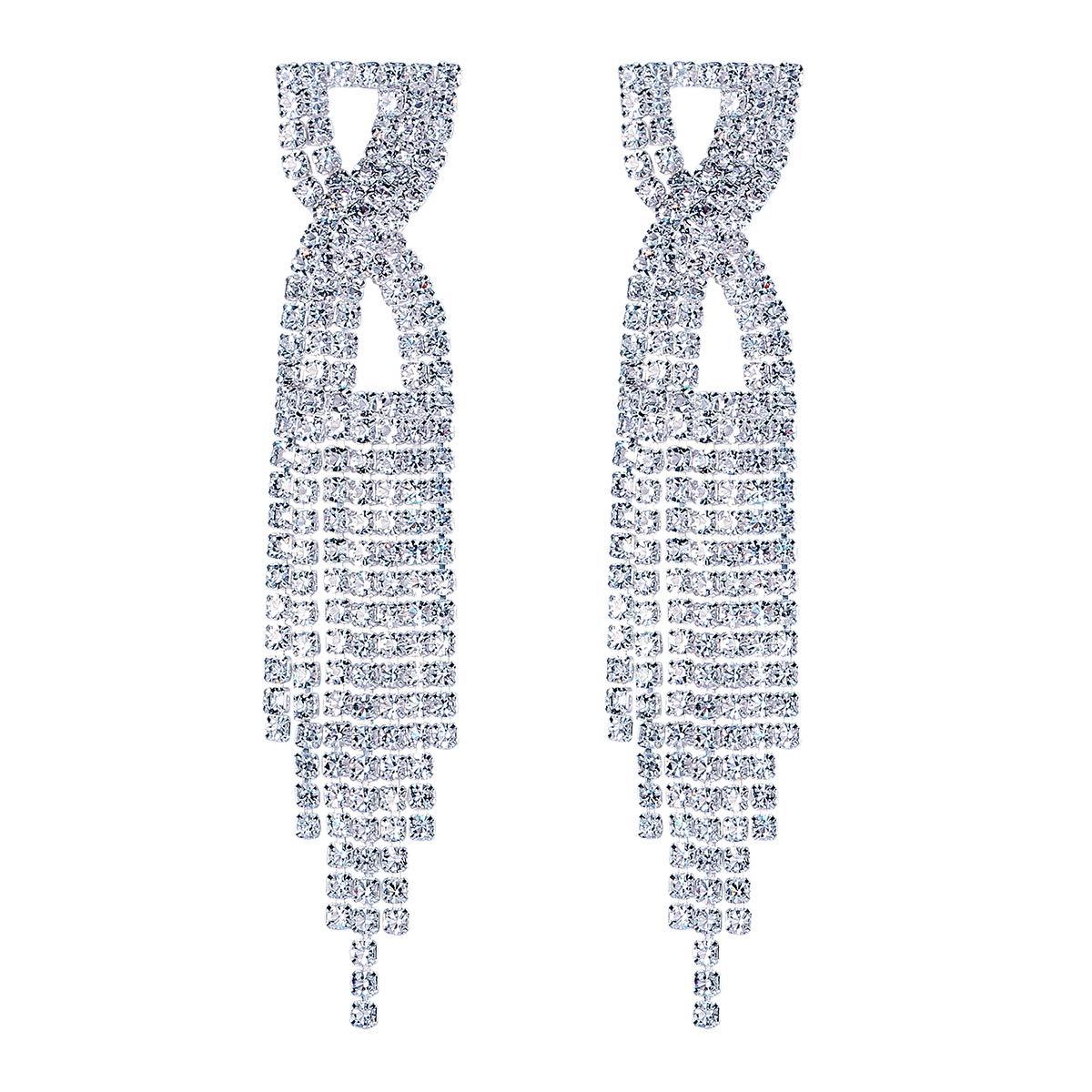 FOCALOOK Bridal Long Tassel Wedding Austrian Crystal Chandelier Drop Earrings White Gold Plated Jewelry