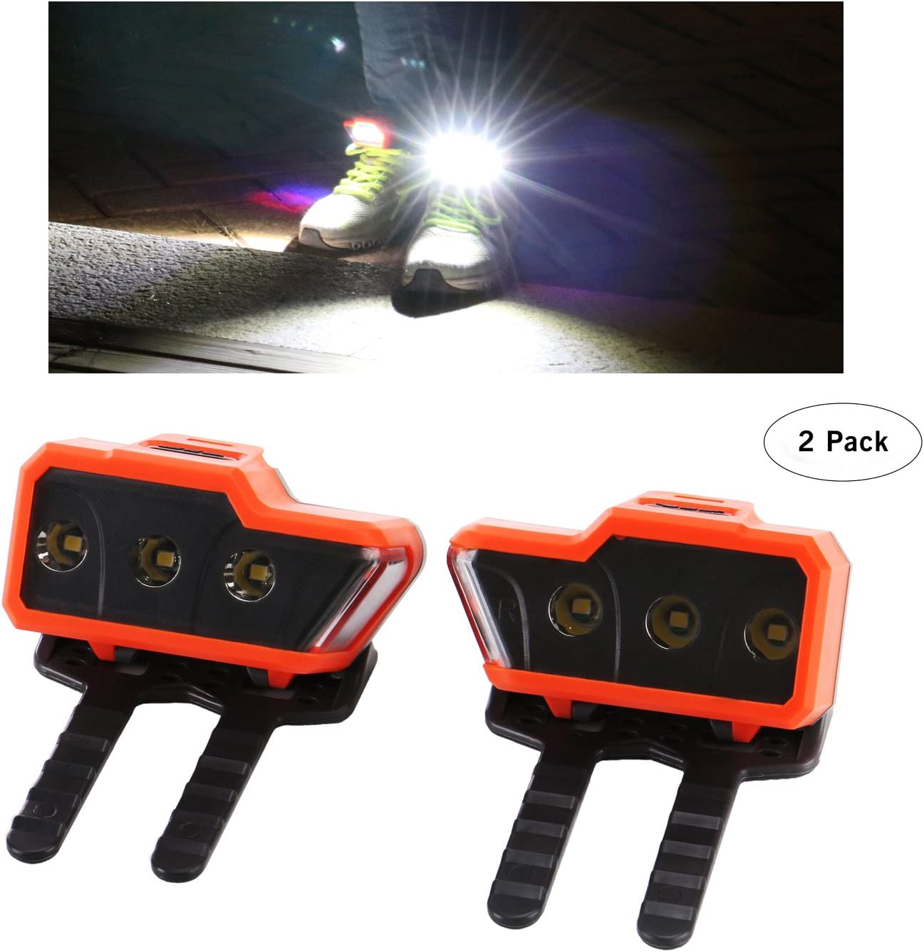 Greensyi LED Safety Lights (2pack) for Running Shoes with Three Bright Leds and One Side Warning light, Good for Night Running, Walking, Hiking, Cycling.