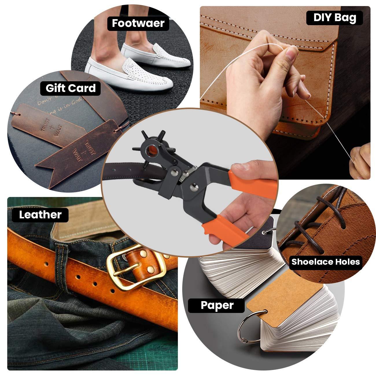 ecc COSYLAND Finder Pinza Fustellatrice,Pinza Perforatrice a Fustella per Cuoio e Cinture Testa Girevole con 6 per cintura sella carta scarpe