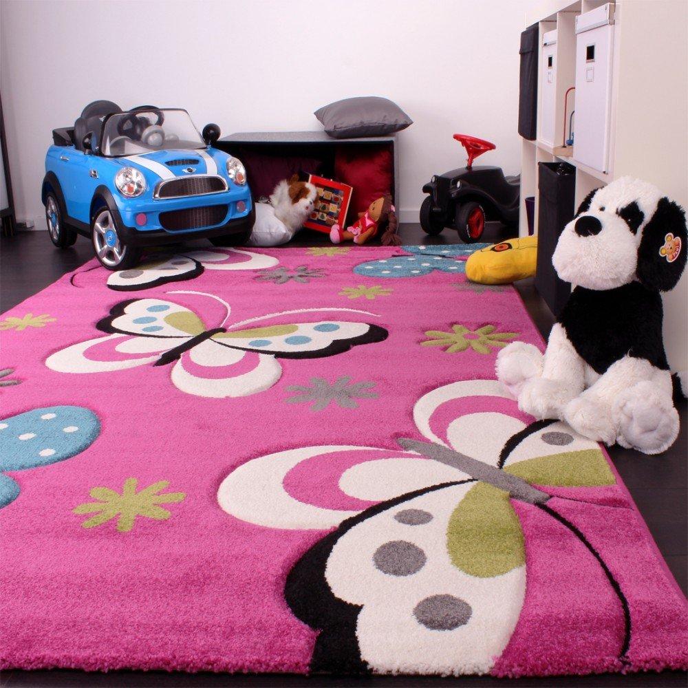 Kinder Kinder Kinder Teppich Schmetterling Design Grün Grau Schwarz Creme Pink, Grösse 200x290 cm 5f314f