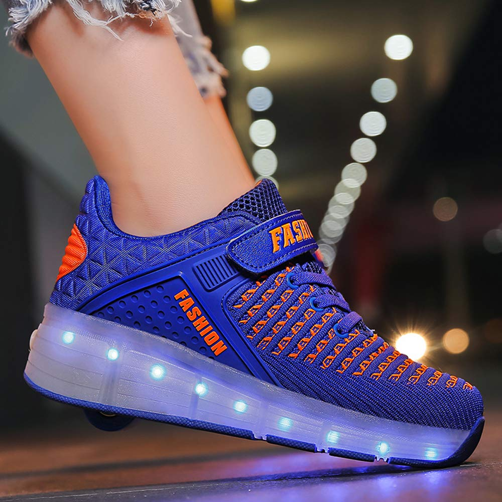 AIkuass Roller Shoes Boys Girls USB Charge LED Light Up Sneaker Kids Wheeled Skate Shoe (6.5 M US Big Kid, 1- Blue- Single Wheel)