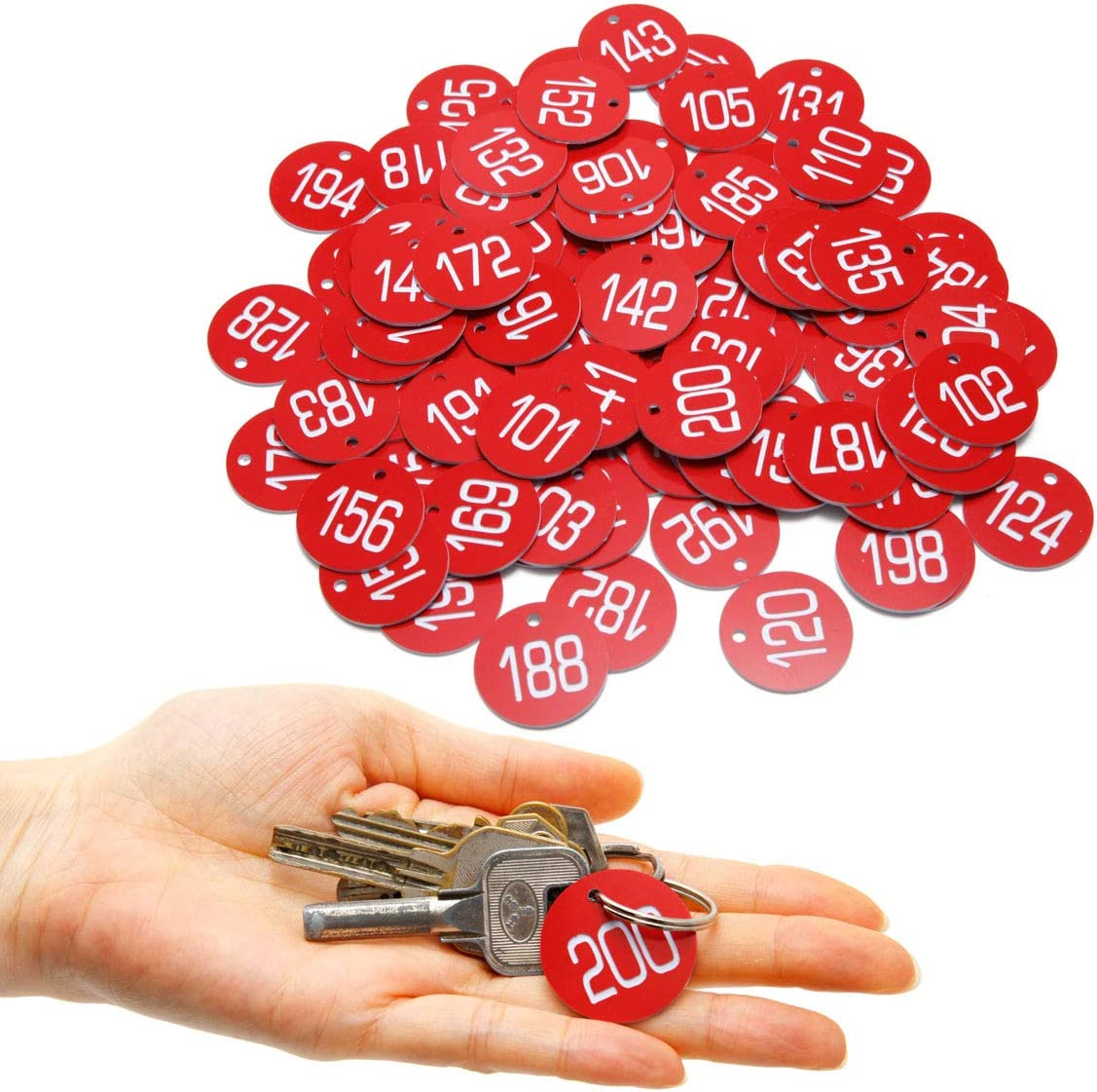 Nummerierte 101-200 Kennzeichnungsmarken Schlüsselmarken für Schlüsselanhänger