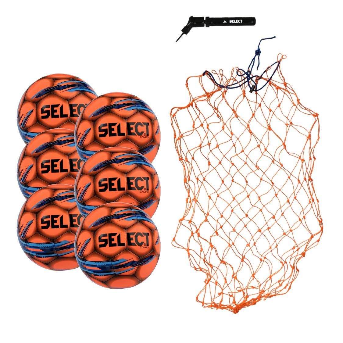 Select Campo Soccer Ball Package - Pack of 6 Soccer Balls with Ball Net and Hand Pump, Orange, 3