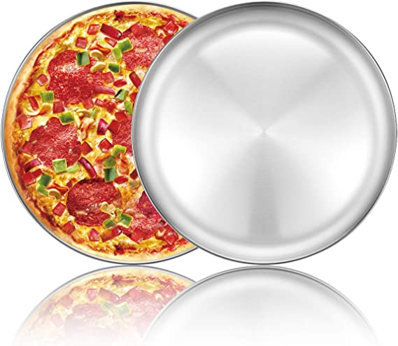 Plate with Tapered Edge Aluminium 300mm 12 inch Pizzas Bake Dinner Pizza Tray