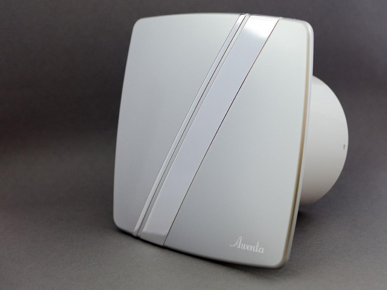 Campana extractora de pared de raso estilo de linea 100 mm Awenta con temporizador y sensor de humedad