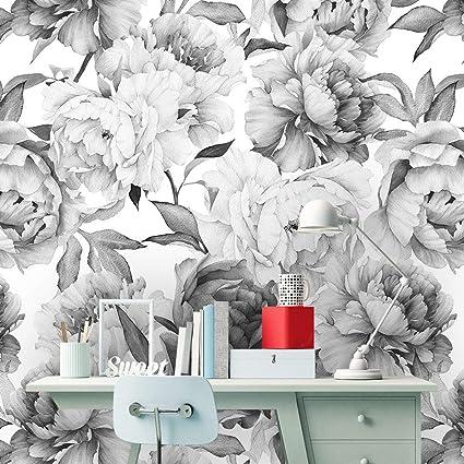 Removable Peel N Stick Wallpaper Self Adhesive Wall Mural Watercolor Floral Pattern Nursery Decor Custom Color Peonies Grey N White 24 W X