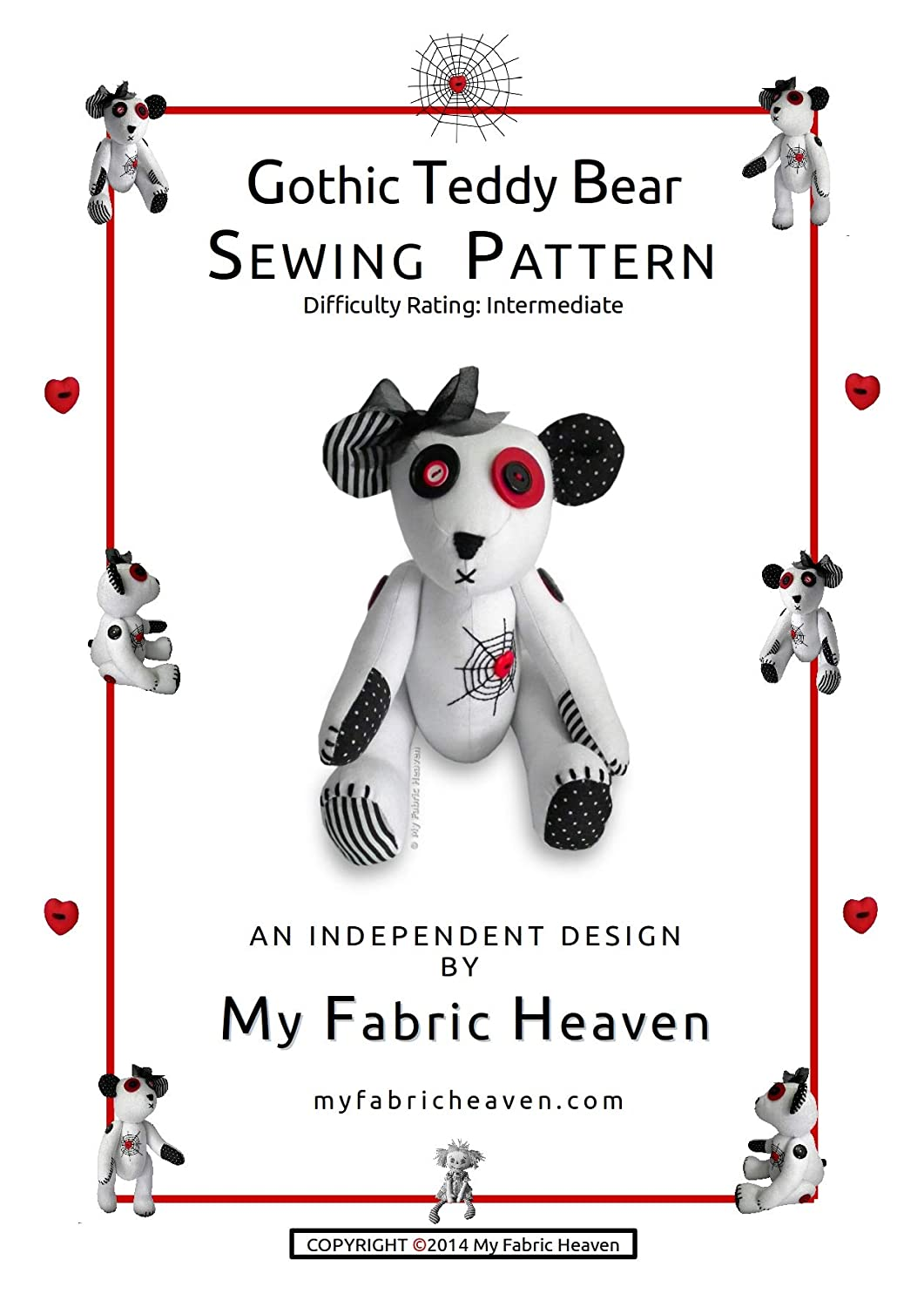 Soft Toy Sewing PATTERN Independent Design. 12 Inch Fabric Gothic ...