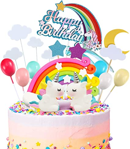 Fine Amazon Com Movinpe 21Pcs Unicorn Cake Topper Kit Cloud Rainbow Birthday Cards Printable Giouspongecafe Filternl