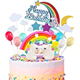 iZoeL 21pcs Unicorn Cake Topper Kit Cloud Rainbow Balloon Happy Birthday Banner Cake Decoration For Boy Girl Kid…