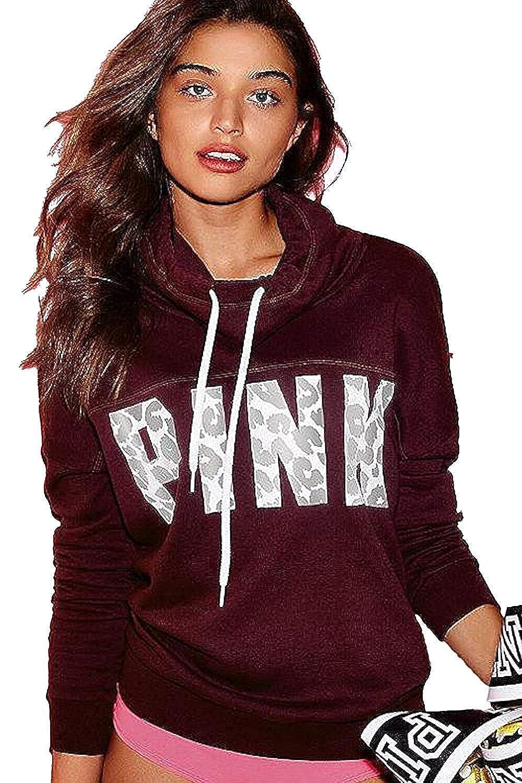 Black Orchid//Cheetah Victorias Secret Pink High-Neck Cowl Pullover Sweatshirt