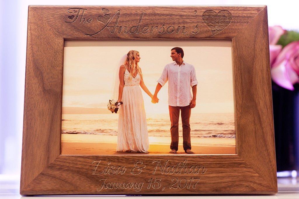 "Custom Laser Engraved 5/""x7/"" Walnut Photo Frame"