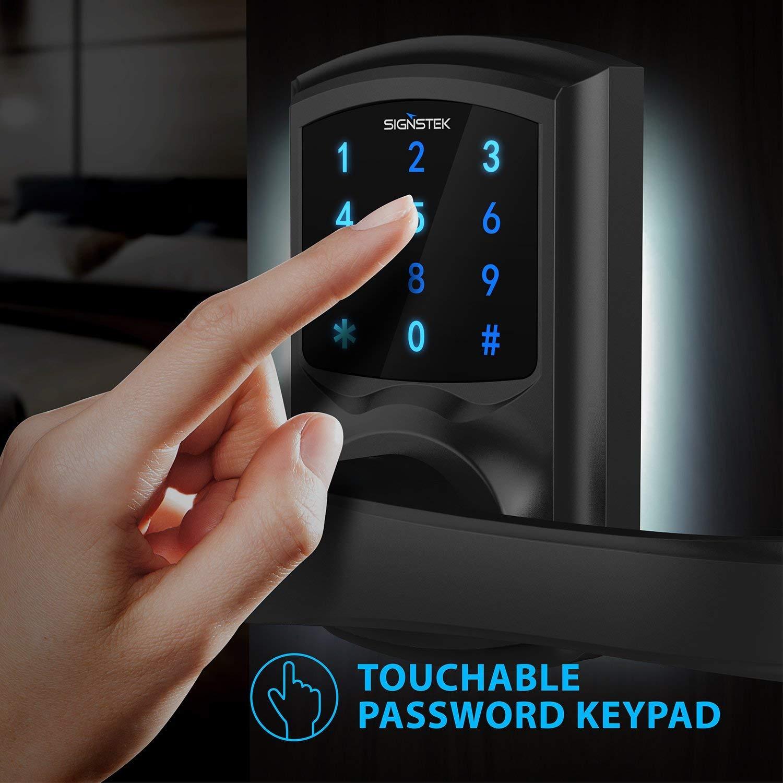 Signstek Digital Electronic Touchscreen Keypad Security Entry Door Lock for Left or Right Door Handle with Hidden Mechanical Key Black Upgraded Version