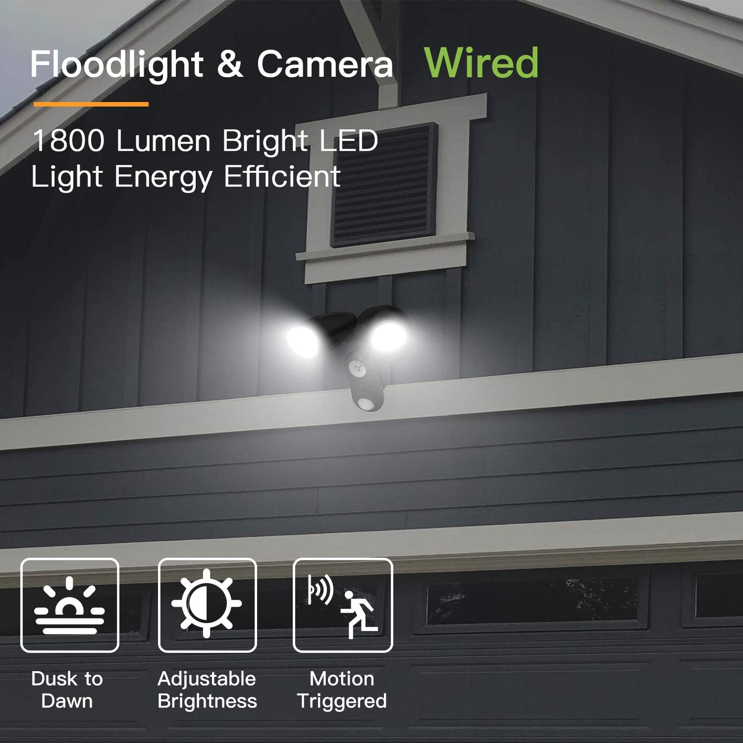 Night Vision Motion-Activated,Two-Way Talk and Siren Alarm Waterproof 1080P HD Plugged-in WiFi Home Surveillance Security Camera Compatible with Alexa Outdoor Floodlight Camera Wired